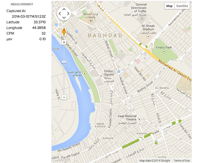 Map of radiation levels in Baghdad
